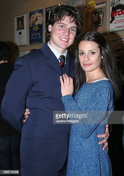Jonathan Groff and Lea Michele from Spring Awakening attend the Light the Lights Broadway is Back Concert at the Marquis Theatre on November 30 2007...