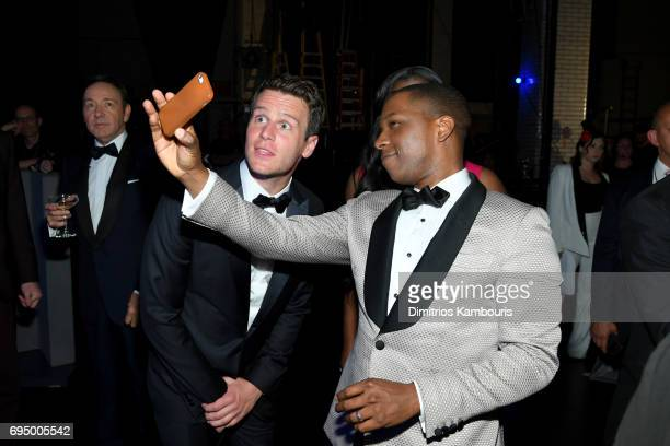 Jonathan Groff and Leslie Odom Jr attends the 2017 Tony Awards at Radio City Music Hall on June 11 2017 in New York City
