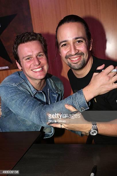 Jonathan Groff and LinManuel Miranda pose at the public release of The Atlantic Records original Broadway cast recording of 'Hamilton' at Barnes...