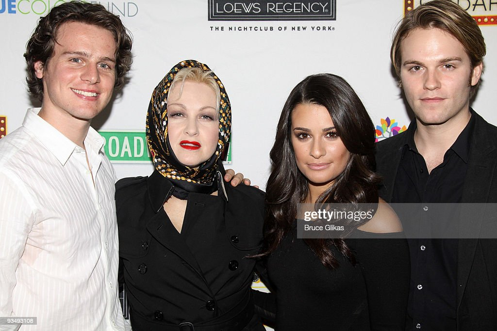 Jonathan Groff, Cyndi Lauper, Lea Michele and Van Hansis pose at the 'True Colors Cabaret' presented by True Colors Tour, Broadway Impact and True Colors Fund at Feinstein's at the Regency on November 29, 2009 in New York City.