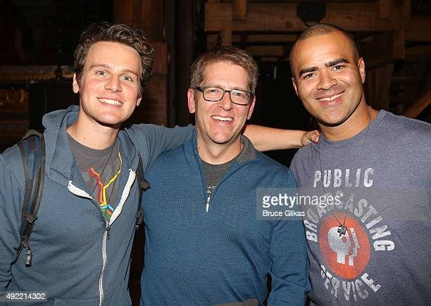 """Jonathan Groff, Former White House Secretary Jay Carney and Christopher Jackson pose backstage at the hit musical """"Hamilton"""" on Broadway at The..."""