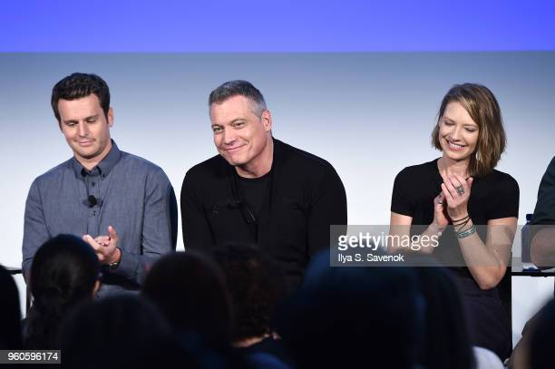 Jonathan Groff Holt McCallany and Anna Torv speak onstage during Get Your Mind Blown With the Cast of Mindhunter on Day Two of the Vulture Festival...