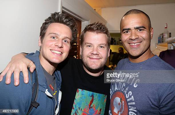 Jonathan Groff James Corden and Christopher Jackson pose backstage at the hit musical Hamilton on Broadway at The Richard Rogers Theater on October...