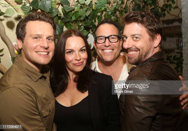 Jonathan Groff Tammy Blanchard Director Michael Mayer and Christian Borle at a photo call for the new production of Little Shop of Horrors at Common...