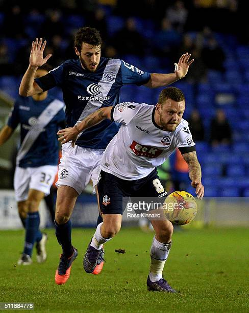 Jonathan Grounds of Birmingham is challemged by Jay Spearing of Bolton during the Sky Bet Championship match between Birmingham City and Bolton...