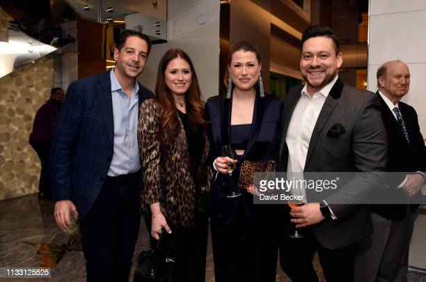Jonathan Gudai, Alexandra Epstein, Katie Epstein and Alex Acuna attend the The Empathy Suite designed by Damien Hirst unveiling at Palms Casino...