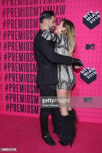 Jonathan Gutierrez and Brenda Zambrano of Acapulco Shore attend the MTV MIAW Awards 2018 at Arena Ciudad de Mexico on June 2 2018 in Mexico City...