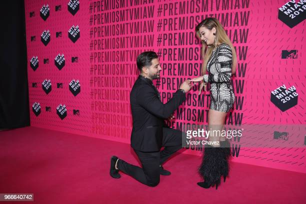 Jonathan Gutierrez propose marriage to Brenda Zambrano of Acapulco Shore during the MTV MIAW Awards 2018 at Arena Ciudad de Mexico on June 2 2018 in...