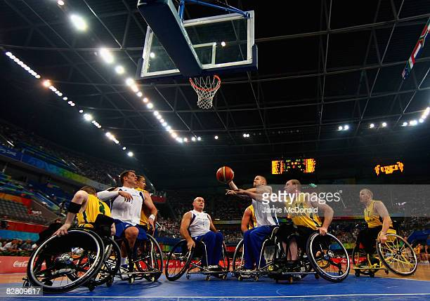 Jonathan Hall of Great Britain battles with Brendan Dowler of Australia in the Wheelchair Basketball match between Australia and Great Britain at the...