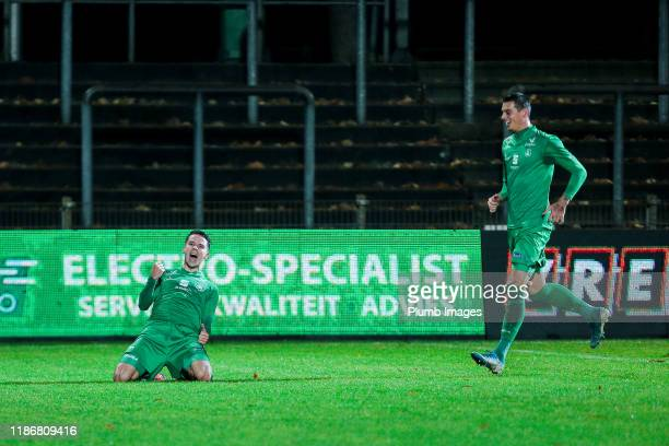 Jonathan Hendrickx of Lommel SK celebrates after scoring his second goal during the Proximus League match between Lommel and OH Leuven at the...