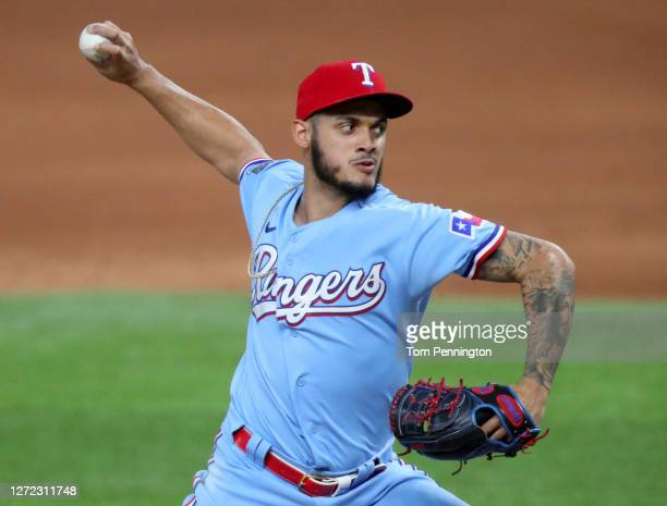 Jonathan Hernandez of the Texas Rangers pitches against the Oakland Athletics in the top of the eighth inning at Globe Life Field on September 13,...