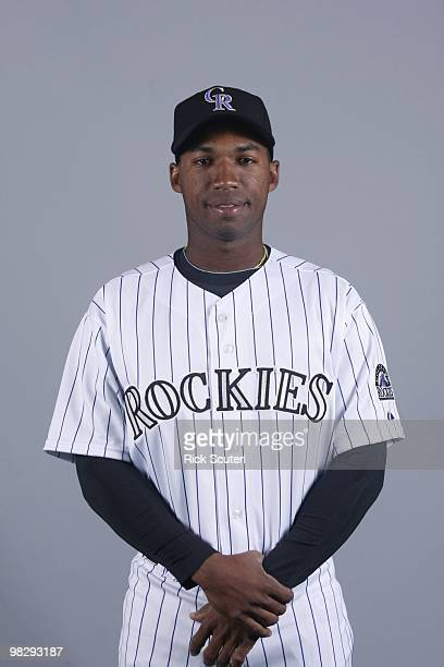 Jonathan Herrera of the Colorado Rockies poses during Photo Day on Sunday February 28 2010 at Hi Corbett Field in Tucson Arizona