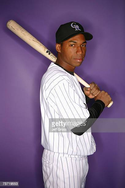 Jonathan Herrera of the Colorado Rockies poses for a portrait during Colorado Rockies Photo Day at Hi Corbett Field on February 26 2007 in Tucson...