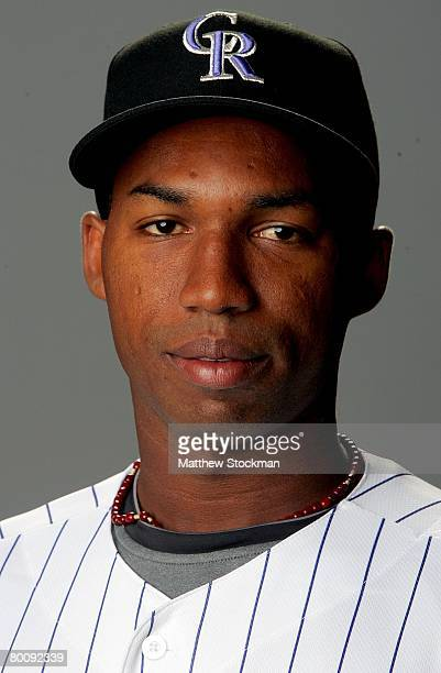 Jonathan Herrera of the Colorado Rockies poses for a portrait during photo day at Hi Corbett Field in Tucson Arizona on February 24 2008
