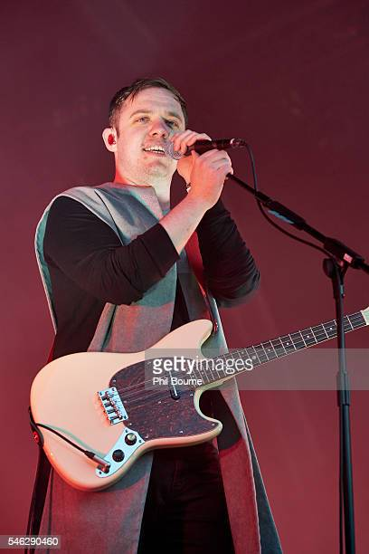 Jonathan Higgs of Everything Everything performing at Somerset House on July 11 2016 in London England