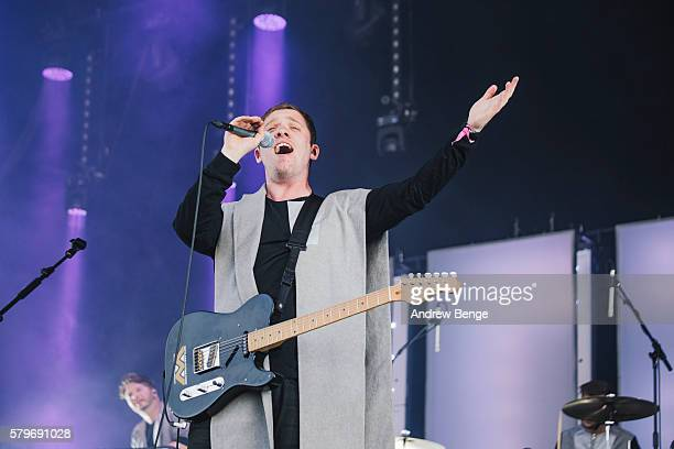 Jonathan Higgs of Everything Everything performs on the main stage during day 3 of BlueDot Festival 2016 at Jodrell Bank on July 24 2016 in...