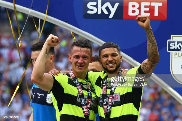 Jonathan Hogg of Huddersfield Town and Nahki Wells of Huddersfield Town celebrate during the Sky Bet Championship Play Off Final match between...