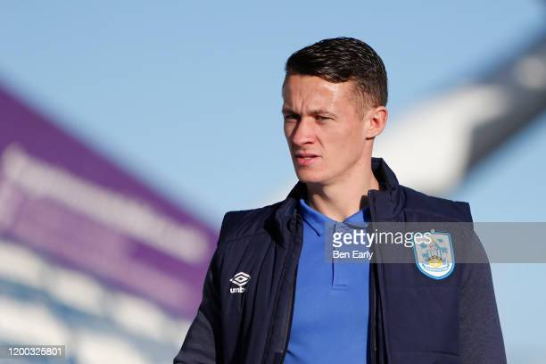 Jonathan Hogg of Huddersfield Town arrives for the Sky Bet Championship match between Huddersfield Town and Brentford at John Smith's Stadium on...