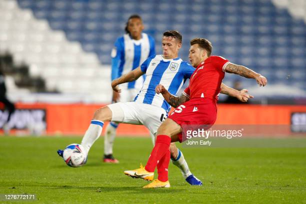 Jonathan Hogg of Huddersfield Town battles during the Sky Bet Championship match between Huddersfield Town and Nottingham Forest at John Smith's...
