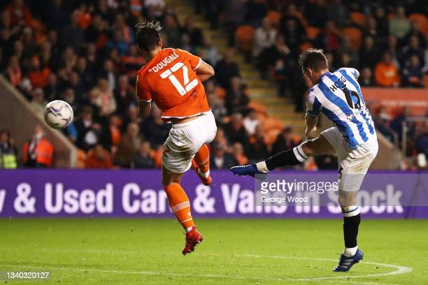 Jonathan Hogg of Huddersfield Town scores their side's third goal during the Sky Bet Championship match between Blackpool and Huddersfield Town at...
