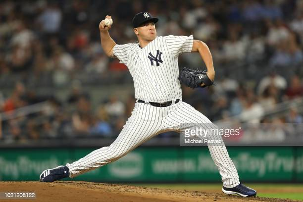 Jonathan Holder of the New York Yankees in action against the Tampa Bay Rays at Yankee Stadium on August 15 2018 in the Bronx borough of New York City