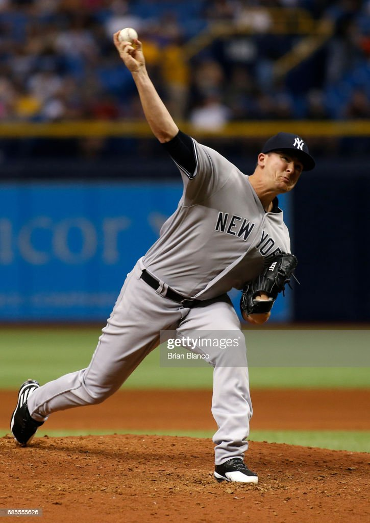 Jonathan Holder #65 of the New York Yankees pitches during the sixth inning of a game against the Tampa Bay Rays on May 19, 2017 at Tropicana Field in St. Petersburg, Florida.