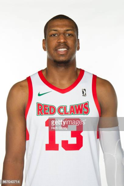 Jonathan Holmes 313 of the Maine Red Claws poses for a head during the NBA GLeague Media Day on October 26 2017 at the Portland Expo in Portland...
