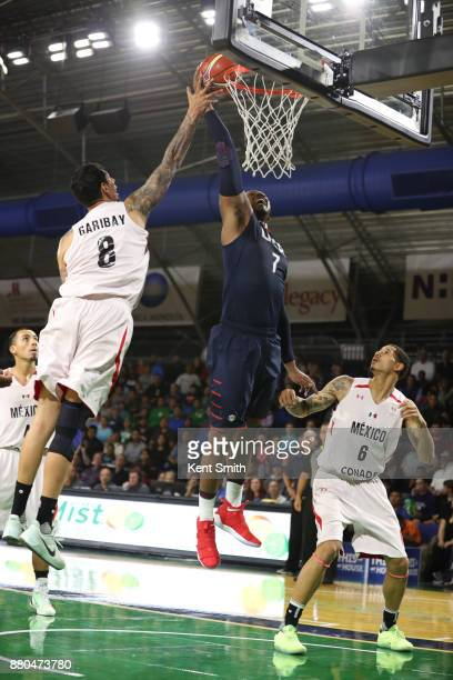Jonathan Holmes of Team USA grabs a rebound against Team Mexico during the FIBA World Cup America Qualifiers on November 20 2017 at Greensboro...