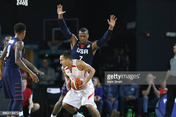 Jonathan Holmes of Team USA plays defense against Team Mexico during the FIBA World Cup America Qualifiers on November 20 2017 at Greensboro Coliseum...