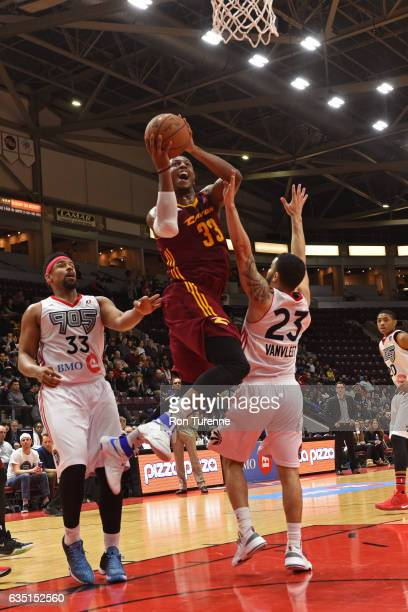 Jonathan Holmes of the Canton Charge drives to the basket against the Raptors 905 at the Hershey Centre on February 11 2017 in Mississauga Ontario...