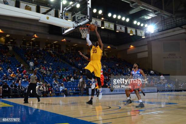 Jonathan Holmes of the Canton Charge dunks the ball during the NBA DLeague game against the Delaware 87ers on February 10 2017 at the Bob Carpenter...