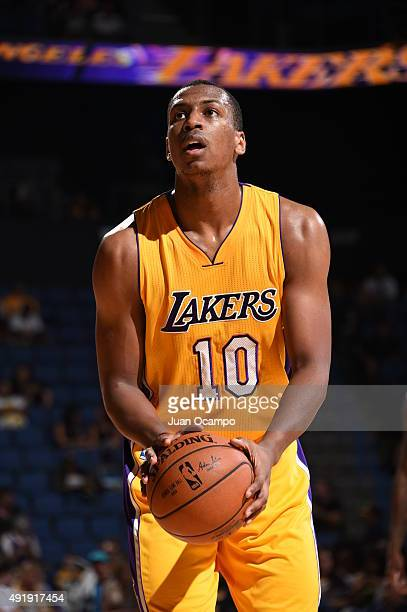 Jonathan Holmes of the Los Angeles Lakers prepares to shoot a free throw against the Toronto Raptors during a preseason game on October 8 2015 at...