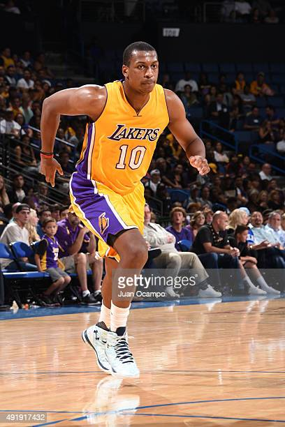 Jonathan Holmes of the Los Angeles Lakers runs against the Toronto Raptors during a preseason game on October 8 2015 at Citizens Business Bank Arena...