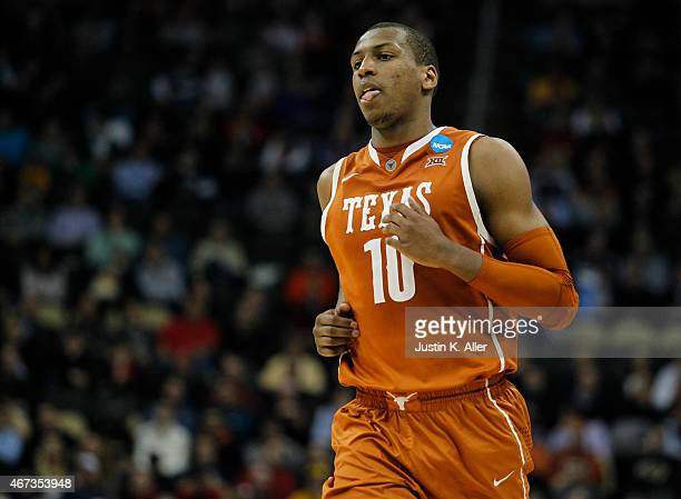 Jonathan Holmes of the Texas Longhorns plays against the Butler Bulldogs during the second round of the 2015 NCAA Men's Basketball Tournament at...
