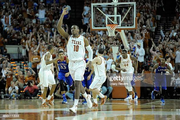 Jonathan Holmes of the Texas Longhorns reacts to a three point shot against the Kansas Jayhawks during a game at The Frank Erwin Center on February 1...