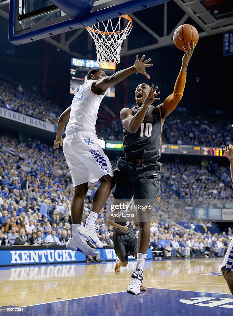Jonathan Holmes #10 of the Texas Longhorns shoots the ball during the game against the Kentucky Wildcats at Rupp Arena on December 5, 2014 in Lexington, Kentucky.