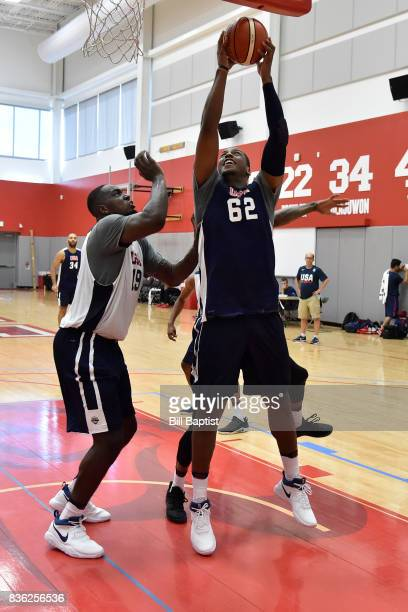Jonathan Holmes of the USA AmeriCup Team drives to the basket during a training camp at the University of Houston in Houston Texas on August 18 2017...