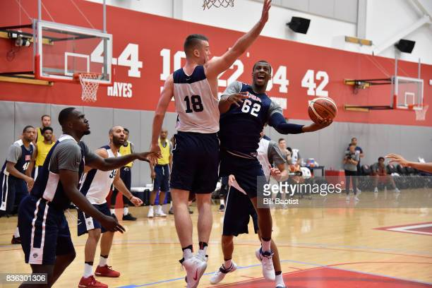 Jonathan Holmes of the USA AmeriCup Team drives to the basket during a training camp at the University of Houston in Houston Texas on August 19 2017...