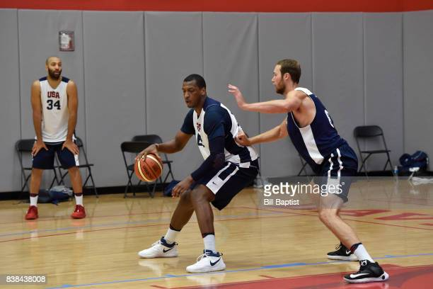 Jonathan Holmes of the USA AmeriCup Team drives to the basket during a training camp at the University of Houston in Houston Texas on August 23 2017...