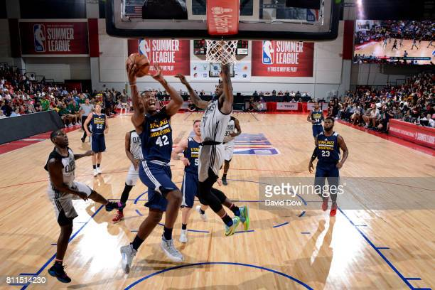 Jonathan Holmes of the Utah Jazz goes for a lay up during the game against the Los Angeles Clippers during the 2017 Las Vegas Summer League on July 9...