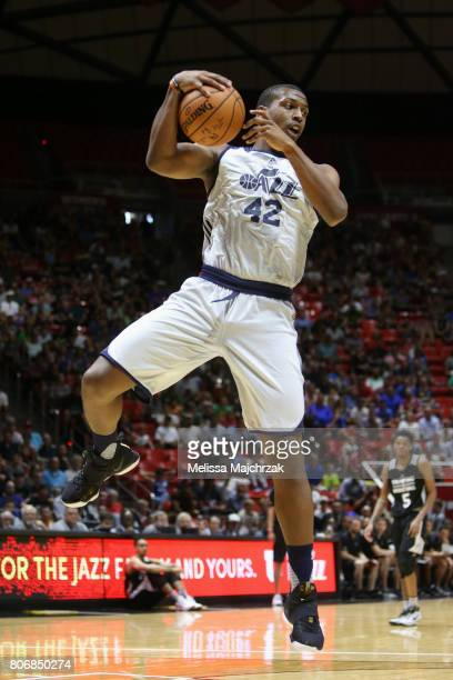 Jonathan Holmes of the Utah Jazz grabs the rebound against the San Antonio Spurs on July 3 2017 at Jon M Huntsman Center in Salt Lake City Utah NOTE...