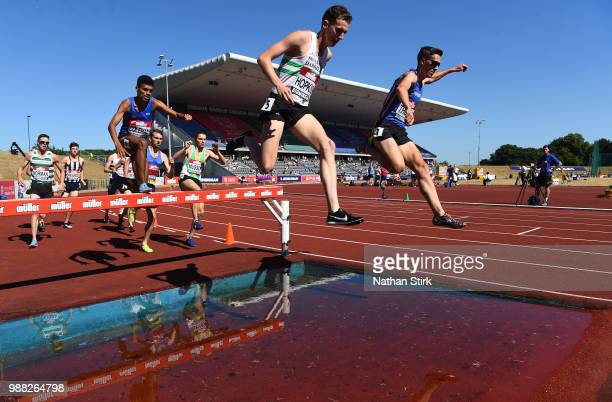 Jonathan Hopkins competes in the Men's 3000m Steeplechase during Day One of the Muller British Athletics Championships at the Alexander Stadium on...