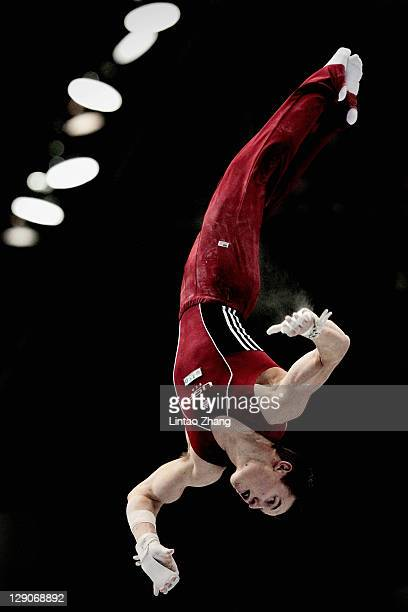 Jonathan Horton of the United States competes on the Horizontal Bar aparatus in the Men's Team Final during day six of the Artistic Gymnastics World...