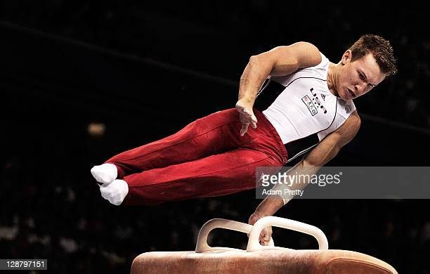 Jonathan Horton of the USA competes on the Pommel Horse aparatus in the Men's qualification during day three of the Artistic Gymnastics World...