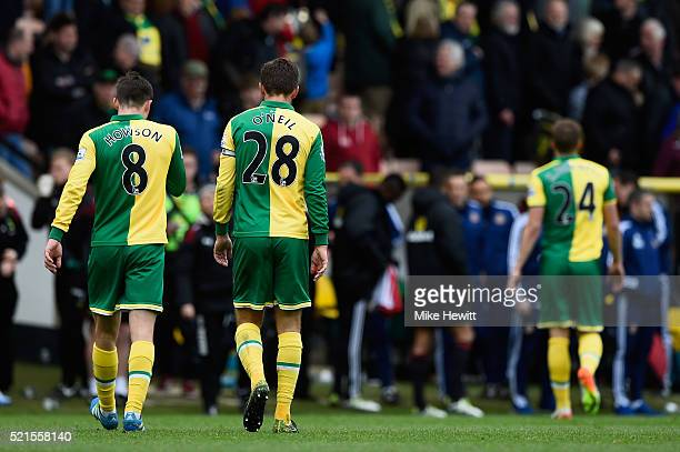 Jonathan Howson and Gary O'Neil of Norwich City leave the field after the Barclays Premier League match between Norwich City and Sunderland at Carrow...