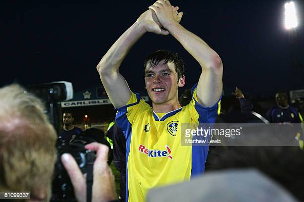 Jonathan Howson of Leeds celebrates his last minute winner during the CocaCola League One Playoff Semi Final match between Carlisle United and Leeds...