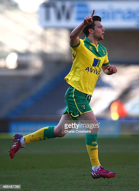 Jonathan Howson of Norwich celebrates after he scores the first goal of the game during the Sky Bet Championship match between Millwall and Norwich...