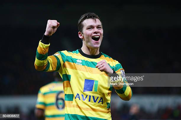 Jonathan Howson of Norwich City celebrates scoring his team's first goal during the Barclays Premier League match between Stoke City and Norwich City...