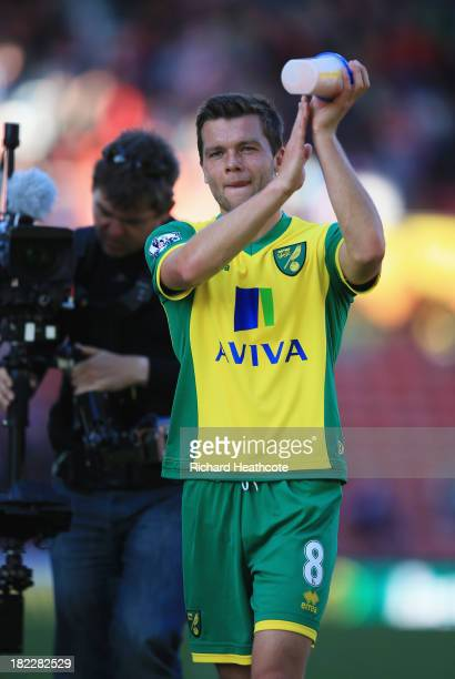 Jonathan Howson of Norwich City celebrates victory after the Barclays Premier League match between Stoke City and Norwich City at the Britannia...