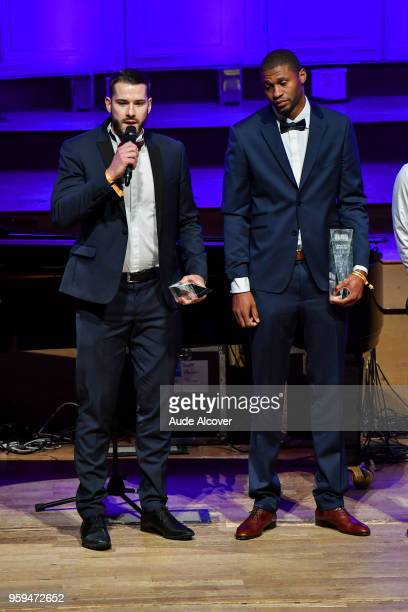 Jonathan Hoyaux and Tyren Johnson during the Trophy Award LNB Basketball at Salle Gaveau on May 16 2018 in Paris France